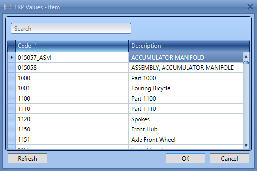 "Any field that needs to be validated against possible values in the ERP system can be defined as a lookup that will return only those values that are deemed valid by the ERP system. That includes, among others, Units of measure, Item types or even Raw materials and Purchased items returned ""live"" by the ERP database. The end-user can also use a powerful keyboard-searched feature to find data based on either the code or the description of the item."