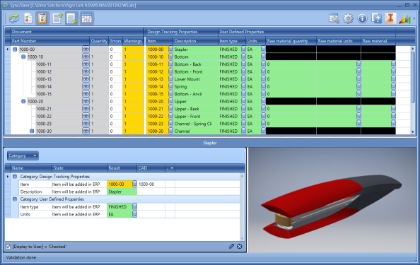 The Agni Link Dashboard simultaneously displays information for the entire Bill of Materials, as well as specific component data. It makes extensive use of color-coding to indicate any issues or warnings priot to the actual integration.